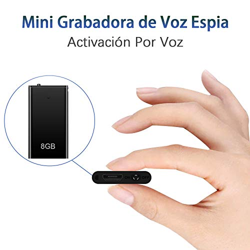 H+Y Mini Espía Grabadora de Voz, 8 GB Portatil Grabadora con Activación por Voz, Recargable por USB y Funciones MP3, Ideal para Clases, Reuniones, Entrevistas, Hasta 96 Horas