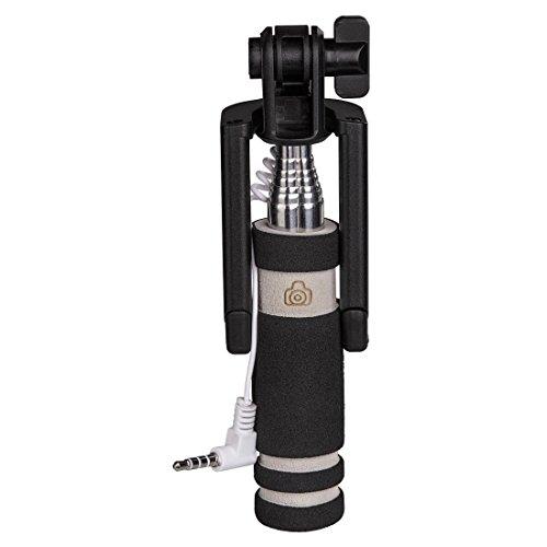 Hama Selfie Stick für Handys (z. B. iPhone 6/6s, Samsung Galaxy S6/S6 edge, mit Auslöser und 3,5-mm-Anschlusskabel, Miniformat) schwarz