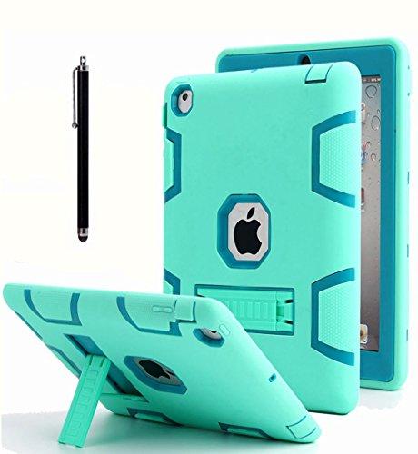 AICase - Custodia per iPad 2, iPad 3, iPad 4, antiurto, resistente, in gomma resistente agli urti, robusta e ibrida a tre strati, con pennino capacitivo per iPad 2/3/4, colore: Blu menta e verde