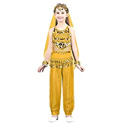 Yellow Sequins Belly Dance Dress Outfits