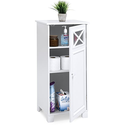 Best Choice Products 3-Tier Wooden Floor Cabinet for Home & Bathroom Storage and Organization w/Adjustable Shelves, Door, White