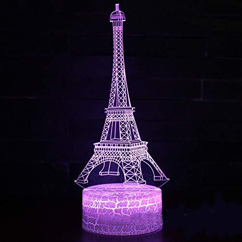 GUANGYING Luz nocturna Torre Eiffel Marca Mark Juego De Lámpara 3D Luz De La Noche 7 Cambio De Color Toque Lámpara De Estado De Ánimo