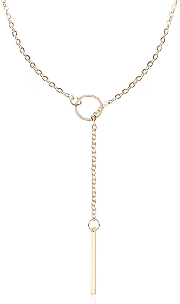 Yikisdy Bar Pendant Necklace Gold Y Necklaces Long Neck Chain Adjustable Jewelry for Women and Girls