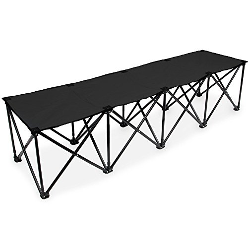 Crown Sporting Goods 6-Foot Portable Folding 4 Seat Bench with Carry Bag – Great Team Bench for Soccer & Football Sidelines, Tailgating, Camping & Events, Black