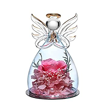 ANLUNOB Angel Gifts for Grandma Mom Angel Figurines with Real Pink Rose Wedding Anniversary Decor Thank You Gifts for Women
