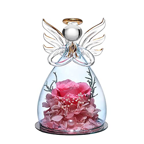 Forever Rose in Angel Cupola di vetro Figurine Fiore artificiale Fiori eterni fatti a mano Galaxy Pink Rose Regali unici per le donne Matrimonio di Natale San Valentino Anniversario e compleanno