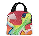 Green Gecko Animation Tote Lunch Bags para mujeres, Portátil Aislante Fiambrera Contenedor Cooler Bag, Tote Bento Pouch para Viajes/Picnic/Trabajo