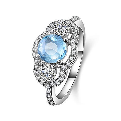 AmDxD Anillo Compromiso Mujer, Anillos Plata 925 Redonda 6.5MM Azul Topacio Blanco Circonita  Plata  Tamaño 15  Regalo San Valentín (Circunferencia 54 mm)