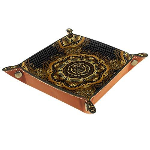 Caja de almacenamiento pequeña, bandeja de valet para hombre,Mandala de oro,Organizador de cuero para llaves de caja de monedas