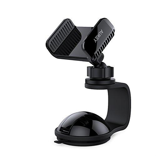 AUKEY Kfz Handyhalterung 360° Drehbar Windschutzscheibe oder Armaturenbrett Handyhalter Auto für iPhone 7 / 7 Plus / 6 / 6S Plus / 5 / Samsung S7 / S6 / S6 Eage / Note 4 / 3 usw. ( Schwarz )
