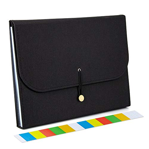Uquelic 13Pockets Canvas Oxford Expanding File Folder - Waterproof A4 Business Expandable Document Organizer with Labels/Letter Size Accordion File Storage Simple Style Briefcase Bag (Black)