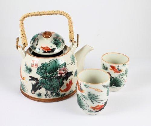 Juego de Té de Porcelana China con Tetera y 2 Tazas para Infusión - Carpa