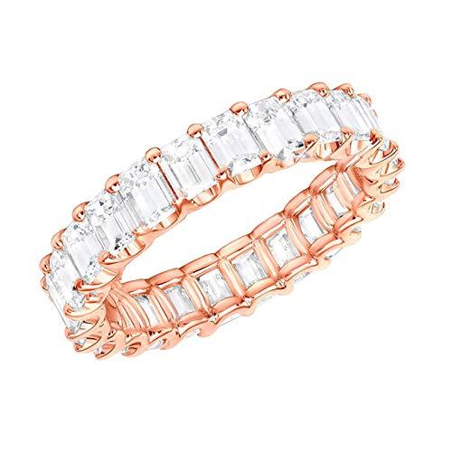 Janly Clearance Sale Anillos para mujer, anillo de moda para mujer, anillo personalizado, anillo de cobre de 3 colores, tamaño 6 – 10, conjuntos de joyería, día de San Valentín (oro rosa)
