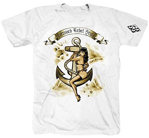 Tattooed Rebel Anker Ink Tätowieren Rock Punk Weiss T-Shirt (S)