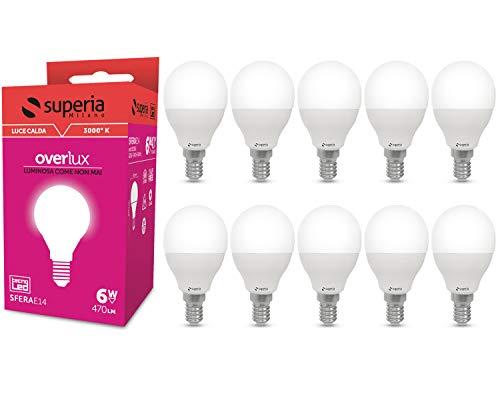 Superia Lampadina LED E14 Sfera, 6W (Equivalenti 40W), Luce Calda 3000K, 470 lumen, SE14C, Pacco da 10