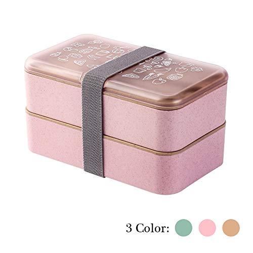 Bento Box Lunchbox 2 Ebenen BPA-frei mit wiederverwendbarem Besteck Lunchboxen im japanischen Stil für Mikrowellen-Gefriergeräte Geschirrspüler Brotdose für Kinder Erwachsene (Rosa)