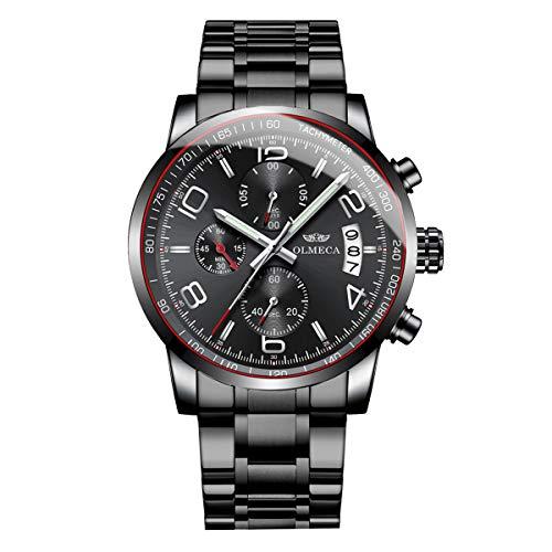 OLMECA Men's Luxury Watch Fashion Analog Quartz Watches Stainless Steel Chronograph Classic Watch Waterproof Wrist Watch Black Color 0831M-QHYDgd