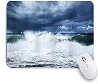 MISCERY マウスパッド 波の雷雨とビーチでの雷曇り雨の空強力な潮寒い劇的 高級感 おしゃれ 防水 端ステッチ 耐久性が良い 滑らかな表面 滑り止めゴム底 24cmx20cm