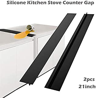 gu6uesa8n Silicone Kitchen Stove Counter Gap Cover, Gap Filler for Kitchen Counters, Stovetop, Oven, Appliance Gap, Reusable, Heat Resistant, Oilproof, Nonstick, Thicken, Black, 2Pcs, 21inch Black