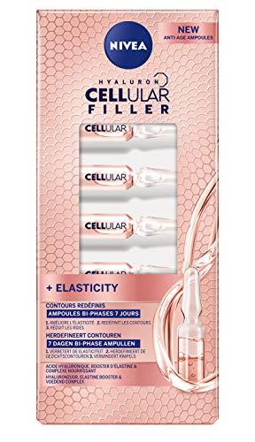 NIVEA Hyaluron Cellular Filler Ampoules Bi-phases 7 jours (1 x 7 pcs), soin anti-âge aux huiles précieuses & acide hyaluronique, soin femme redensifiant et nourrissant