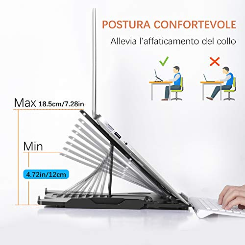 TopMate Laptop-Ständer mit 360° drehbarem Ständer für Notebooks, Höhe verstellbar, Ständer für Notebooks, klappbar