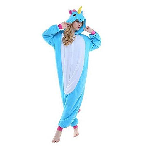 VineCrown Schlafanzug Einhorn Pyjamas Tier Overall Karikatur Neuheit Jumpsuit Kostüme für Erwachsene Kinder Weihnachten Karneval (M for 160CM-168CM, Blau)