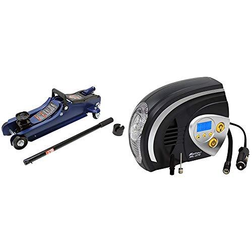 メルテック 2t油圧フロアージャッキ ローダウン 最高値/最低値 335(365)/85(115)mm 1年保証 ジャッキタッチメント・サドル(30�oUP)付 FA-24 + エアーコンプレッサー(自動車/バイク/自転車/ボール) 最高圧力:825kPa