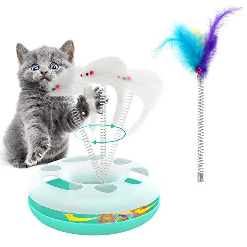 VavoPaw Pista Interactivo para Gatos, Juguete Mental con Bola Ratón Pluma Circuito Giratorio Rodillo Hueco de Ejercicio Juego de Captura Rascador Redondo Túnel para Gatitos, Azul