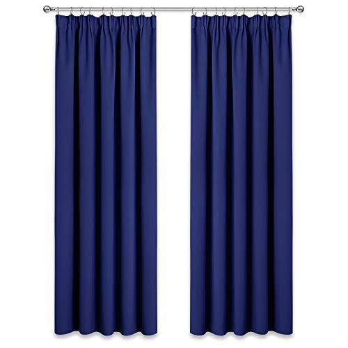 PONY DANCE Vorhang Blau Blickdicht - 2er Set Thermo Gardinen mit Kräuselband Gardinen Wohnzimmer Blickdicht Verdunklungsvorhänge, H 245 x B 140 cm