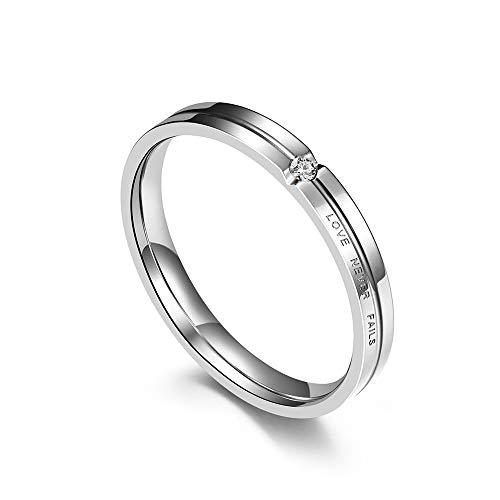 Anillo de boda Love Eternal Marriage para parejas, compromiso y compromiso con diamantes de imitación de plata negra mate y titanio de acero inoxidable para parejas de hombres y mujeres