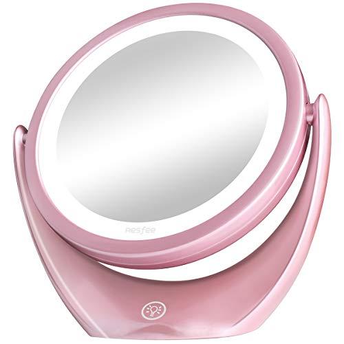 Espejo de Maquillaje de Doble Cara con luz LED, 5X de Aumento Espejo Cosmético con Interruptor Táctil de Brillo Ajustable, Espejo de Viaje Iluminado Portátil, 360° de Rotación