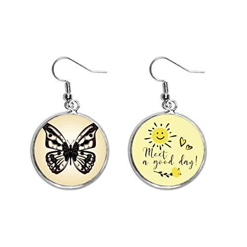 Ejemplar de mariposa en oreja pálida gota sol flor pendiente joyería moda