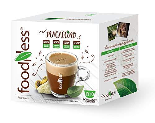 FoodNess - Cápsula de café compatible Dolce Gusto sin lactosa y gluten a base de café cacao y maca (3 cajas en tot. 30 cápsulas).