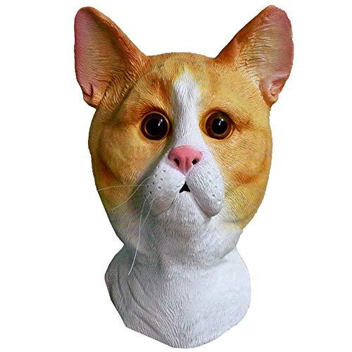 YO Ingwer-Katze Latexmaske Vollkopf-Kostüm Masken Tom Katze Tier Halloween Kostüm