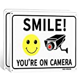 (2 Pack) Smile You're on Camera, Video Surveillance Sign, 10'x7' Rust Free Aluminum Metal,Warning Sign for CCTV Monitoring System by HISVISION.