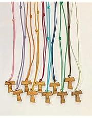 Tau de madera de olivo con cordón de color, 50 piezas, cruz de San Francisco de Asís de 2,2 cm con los 3 nudos franceses