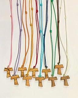 Tau in legno di ulivo con cordoncino colorato, croce di San Francesco d'Assisi 2,2 centimetri 20 pezzi pezzi con i 3 nodi ...