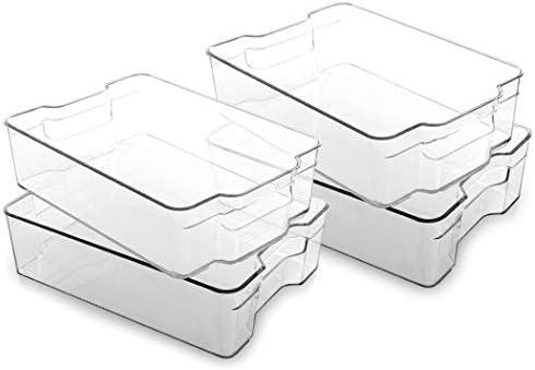 BINO Stackable Plastic Organizer Storage Bins Large 4 Pack Pantry Organization and Storage Refrigerator product image