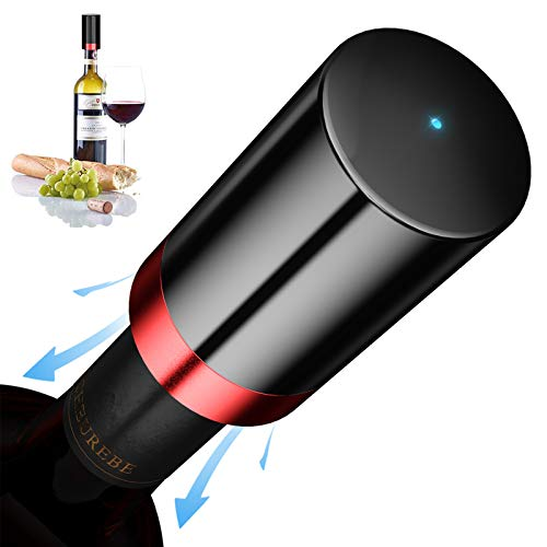Quntis Electric Wine Bottle Stopper, Automatic Vacuum Wine Saver, Wine Bottle Plug with Silicone, Reusable Wine Corks, Decorative Wine Preserver, Bottle Sealer Keeps Wine Fresh, Best Gift Accessories
