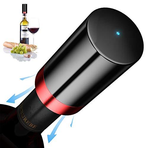 Quntis Tapón Vino Vacio Electrico, Tapón Botella Vino con Luz LED de Indicación, Expulsar el Aire Automáticamente para Sabor Fresco, Detección Inteligente de Presión Interior, Tapón Vino 4.3x8.0cm