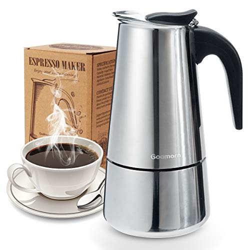 Stovetop Espresso Maker, Moka Pot, Godmorn Italian Coffee Maker 450ml/15oz/9 cup (espresso cup=50m), Classic Cafe Percolator Maker, Stainless Steel, Suitable for Induction Cookers