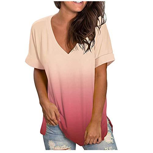 Damen T-Shirt, Kurze T-Shirts mit V-Ausschnitt, Ärmelhemden Farbverlauf Tops Bluse (XL, Rosa)