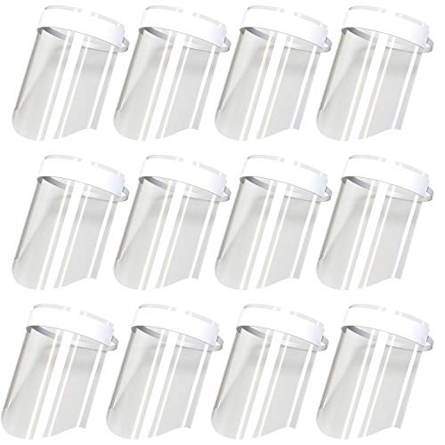 BulbHead Free Long Protective Lightweight & Transparent Wraparound Anti-Fog Design-Kids Face Shield-Adjustable Band, 12 Pack, Clear