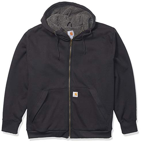 Carhartt Mens Sherpa-Lined Midweight Full-Zip Sweatshirt, Black, S