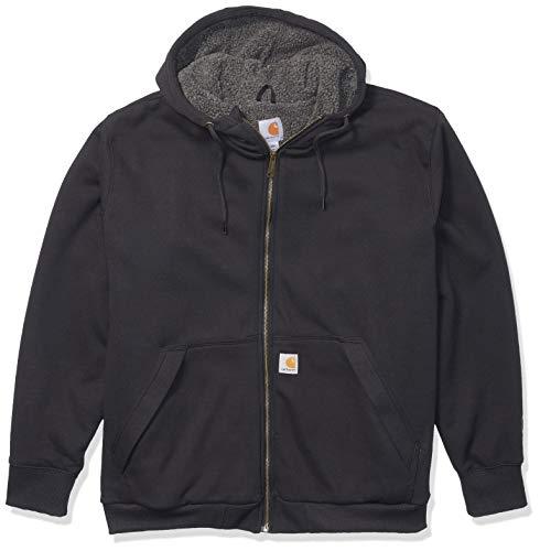 Carhartt Men's Big Big & Tall RD Rockland Sherpa Lined Hooded Sweatshirt, Black, 2X-Large/Tall