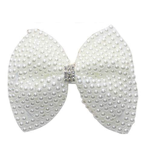 Ogquaton Fille de qualité Premium Élégant Faux Perle Incrusté Fleur Noeud papillon Épingle À Cheveux Bord Pince À Cheveux Barrette 1