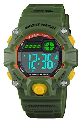 VDSOW Relojes infantiles para niños, 50M Reloj deportivo digital a prueba de agua con alarma/Cronómetro/12/24H, resistentes a los golpes Relojes militares de LED para niños verde