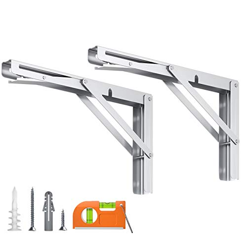 LuckIn Folding Shelf Brackets 20 Inch Loading 300lb, Wall Mounted Heavy Duty Fold Down Table Hinge, Stainless Steel Collapsible L Bracket, 2-Pack Silver