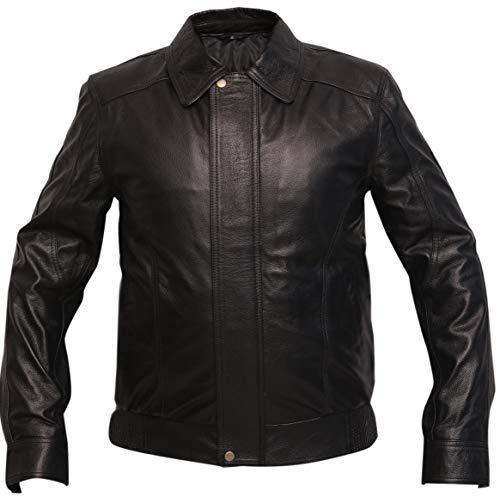 Men's American Style Black Bomber Cowhide Leather Jacket - Black - XXX-Large