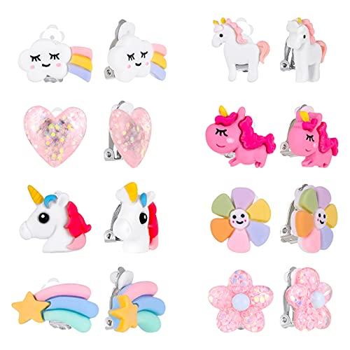 Gaosaili 8 Paar Ohrclips Mädchen Clip On Ohrringe Kinder Klipp Ohrringe Clip Ohrringe Kinder Mädchen Vortäuschen Prinzessin Spielen Ohrringe Schmuck Set